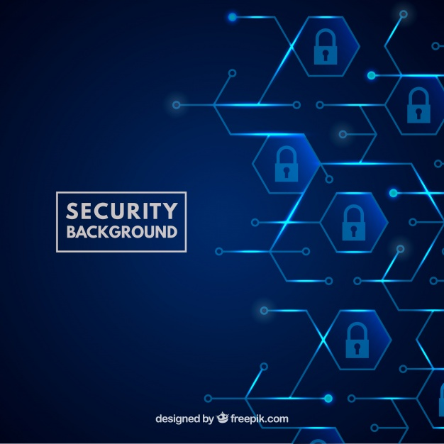 Blue security background with padlocks